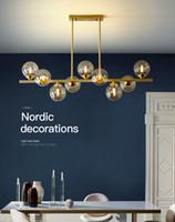 Pendentif restaurant moderne lustre LED personnalité créative de cuivre simple que des barres Nordic lampes suspendues magasin de vêtements rectangulaire