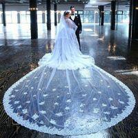 2021 Nuovi veli da sposa Cattedrale Lunghezza 3m Lungo Pizzo Lungo Appliqued Velo da sposa Accessori da sposa con pettine gratuito