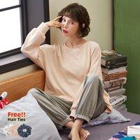 MELIFLE Otoño pijamas Set Moda para la Mujer 100% algodón caliente PJS invierno Atoff Inicio Ropa de dormir puro Traje de Harajuku suave ropa de dormir 201009
