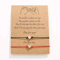 2 unids / set Heart Star Beads Charm Bracelets One para usted uno para mí Red String Braiding Pareja Pulsera para Hombres Mujeres Wish Tarjeta