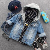 2019 новый стиль осень мальчиков ковбой джинсовая куртка дети прохладный классический с капюшоном туалетные пальто детей вскользь высококачественная одежда LJ201007