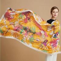 Frauen Promi Damen Sommer Seide Tuch Schal Flower Peacock Feder Drucken Weibliche Mode Design Cheongsam Schal Reise Strand Sonnenschutz