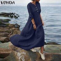 Casual Dresses A-Line Midi-Kleid 2021 Vonda Womens Vintage Massivfarbe Baumwollhemd Langarm Button Crew Hals Sommerkleid