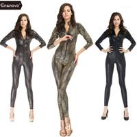 Ensnovo de una pieza brillante serpiente metálico catsuit zentai traje de manga larga con cremallera con cremallera corporal Snakeskin unión con traje de cuerpo completo1