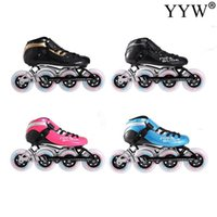 Carbon-Faser-Speed-Inline-Roller Skates Professional 4 Wheels Racing Skating Erwachsene Kinder Männer Racing Skating Patines 4 Farben
