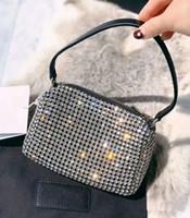 2020 وانغ جودة عالية hobo مصمم المتشرد حمل النساء حقائب الكريستال الماس الشهيرة سلسلة الكتف حقائب crossbody سوهو حقيبة ديسكو حقيبة