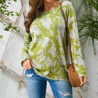 2020 가을 캐주얼 스웨터 탑 여성 패션 V 넥 타이 염색 인쇄 여가 긴 소매 스웨터 탑