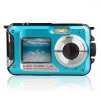 شاشة مزدوجة كاميرا تحت الماء HD للماء صور اطلاق النار فيديو تسجيل الرياضة الغوص الصمام فلاش كاميرا الفيديو الرقمية 1