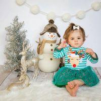 Yeni Yıl Noel Giyim Çocuk Uzun Kollu Cadılar Bayramı Tutu Elbiseler Çizgili Elk Bebek Kız Tek Parça Elbise Çocuklar Parti Giysileri Sıcak E92701