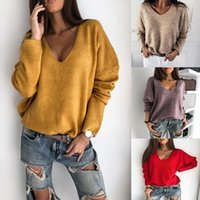Women Autumn Loose Solid Color V Neck Long Sleeve Plush Pull...