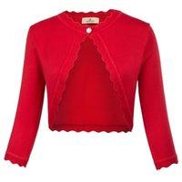Grace Karin Sonbahar Kazak Ceket Kadınlar Kuşgözü Trim 3/4 Kollu Bir Düğme Örme Bolero Shrug Klas Katı Kırpma Ceket Bayan Y200909