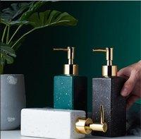 Luxury Bathroom Accessory Imitation Marble Pattern Ceramic Glass Shower Gel Handwashing Fluid Pump Bottle Washing Tools Home