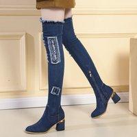 Stiefel womens über denim den knie spitze three dicke high heels schuhe frau casual tassel schnitt jeans lange botas mujer