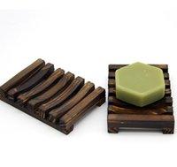 خشبي الصابون الطبيعي صحن مكافحة زلة الاستحمام الصابون صينية حامل تخزين الصابون رف لوحة مربع حاوية حمام دش لوحة الحمام W67