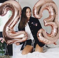 """40 inç 40 """"Büyük Folyo Numarası 0-9 Balon Altın Degrade Kırmızı Dev Şamandıra Balonlar Top Çocuklar Mutlu Doğum Günü Partisi Düğün Yeni Yıl Dekor E122301"""