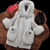 Fengguilai moda casaco de pele de inverno mangas compridas casaco longo casaco mulheres falsa casacos de pele outerwear T200915