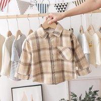 Moda Boys Camicia Stile Plaid Style Bambini Manica lunga Camicie per bambini Abbigliamento in cotone per bambini Ragazzino Ragazze Addensare Blouses Velvet Tops