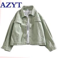AZYT Vintage Сыпучие Solid джинсовой куртки для женщин Harajuku BF Streetwear Короткий Жан пальто Тонкий высокой талией женщина джинсовой куртки 201013