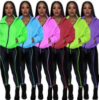 Women Tracksuits Two Pieces Set Solid Colour Line Stitching ...
