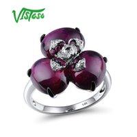 Кластерные кольца Vistoso Pure 14K 585 Белое Золотое Золотое Кольцо для Женщин Сверкующий Алмазный Рубин Родолит Гранарий Роскошные Свадебные Обручальные Украшения