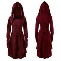 S-5XL Senhora vestido com capuz Idade Média Renaissance Dia das Bruxas Arqueiro Cosplay Costumes Vintage Bandagem Medieval Party Vestido1