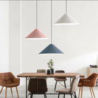 Kreativer Single Head Resin Macaron Farbe Pendelleuchte Nordic Einfache Rosa Restaurant Decor LED E27 Beleuchtung Konische Welligkeit Design