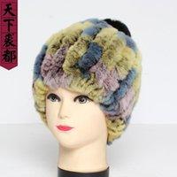 NUEVA dama de invierno auténtico rex piel sombrero mujeres cálido 100% natural real rex cápsula de piel moda rayada genuina Cap1