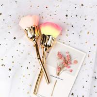 Dhl dot blühen spiegel glitter griff pinsel polnisch picker maniküre sauber weiche bürste staub pulverentfernung rose blume form nail art tools