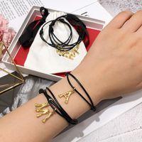 J.hangke unisex ajustável pulseira de couro genuíno para as mulheres homens amigo 26 carta de cobre festival jóias presentes bracelets1
