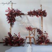 Fleurs décoratives couronnes coutumes bourgogne vin rouge artificiel fleur de mariage arrangement arc déco wall fête scène mise en page PR