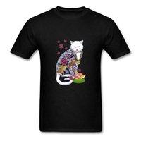 Divertido verano fresco camiseta el padrino de los gatos Cat Cat Yakuza gatito gatito negro camiseta hombres manga corta camiseta inspirada camisa de diseño x1214