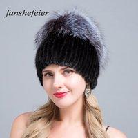 Fanshe nova mulher inverno de esqui chapéu de pele chapéu de prata com capuz de pele de malha quente de alta qualidade mink costura artesanal textura