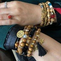 2020 Venta caliente Beads de madera Pulsera Gema negra con pulsera de borla Multilapa Colgante Charm Charm Charm Bracelets Bangles1