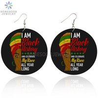 Люстра свисают сомезурные черные истории гонки всего года длинные африканские деревянные падение серьги афро вершина женщина голоса женщина говорят дизайн ювелирных изделий f