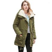 VVTS женская зимняя теплая из искусственного ягненка шерстяное пальто Parka хлопковая пиджака толстая середина длинной половой Parka Trawstring талия тонкий пиджак1