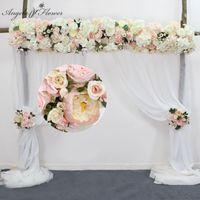 인공 꽃 행 화환 장식 홈 커튼 결혼식 도로 리드 코너 꽃 벽 실크 꽃의 중앙에있는 볼 30cm 사용자 정의