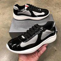 Новые мужчины America Cup Designer кроссовки лучшие патентные кожаные плоские тренажеры черное синие сетки на шнуровке нейлоновые повседневные туфли на открытом воздухе