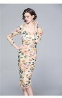Moda Örgü Baskı Elbiseler 2021 kadın Gündelik Elbise Seksi Kare Boyun Uzun Kollu Pileli Alt Pist Giyim