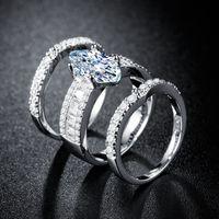 3pcs lot women wedding zircon anillo 18k oro plata plateado cúbico zirconia boda fiesta diario wearable joyería de moda dropshipping caliente