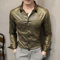 Британский стиль повседневная стройная подходит ночной клуб вечеринка носить смокинг рубашку золото снежинки цветочные рубашки мужчины с длинным рукавом мужчины платье рубашка