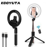 4 em 1 Extensível sem fio Bluetooth Selfie Stick Tripods LED Selfie Ring Light com suporte com controle remoto para maquiagem Live1