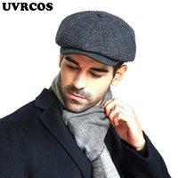 Berets UVRCOS 남성용 야외 가죽 모자 겨울 남성 따뜻한 귀 보호 캡 100 % 정품 아빠 도매 레저 뼈