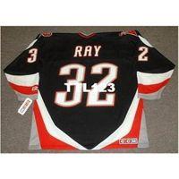 Mens # 32 Rob Ray Buffalo Sabers 1999 CCM Ausente Home Hóquei Jersey ou Personalizado Qualquer nome ou Número Retro Jersey