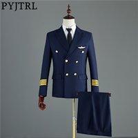 Pyjtrl Navy Blue Blue Black Mens двухсекционный капитан куртки и брюки мужские жених свадебные Snif Fit Suit Party Costume Homme Tuxedo 201123