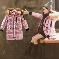 Down Pob 2021 зима теплая для девочек меховой воротник длинный флуоресцентный цвет детская верхняя одежда хлопковая куртка детей