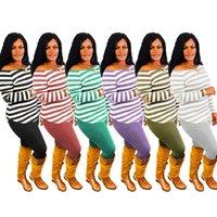 Женщины Cousssit Пуловер Свитер Брюки Наряд Два Части Одежда Уборные Дизайнеры Полосатые Печать Топ Топ Ноггинг Брюки Костюм S-3XL E122211