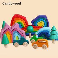 아기 장난감 나무 블록 어린이 크리 에이 티브 레인보우 빌딩 블록 교육 장난감 어린이 1008 레인보우 스태커 장난감