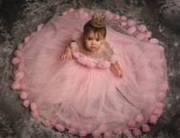 2020 fiori rosa economici ragazza abiti pura collo a mano abiti realizzati fiori Bambina nozze a buon mercato Comunione spettacolo degli abiti F31201