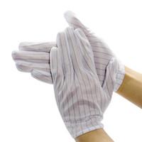 Антистатические полосатые перчатки белая полиэфирная промышленность стиль света и дышащая кожа дружественное волокно пять пальцев
