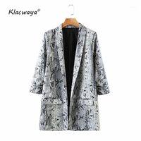 Klacwaya Femmes 2020 Mode Serpentine Imprimer Vintage Golden Blazer Manteau Dames Poches à manches longues Femme Vêtements de dessus Chic Tops1
